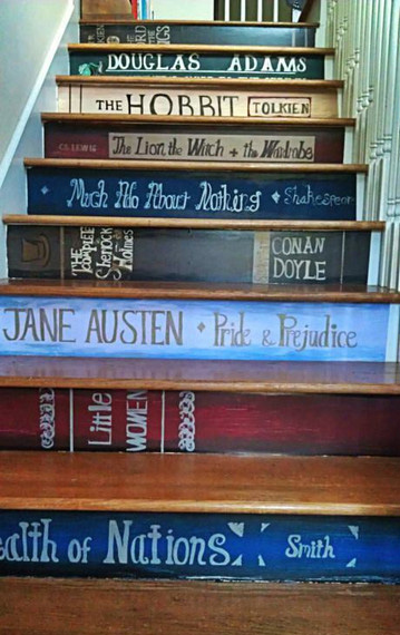 Classic books stair stickers stuff you should have - Stickers contremarche escalier ...